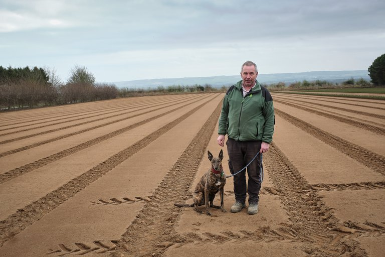 Forestry England staff member stood in mud tracked field with dog